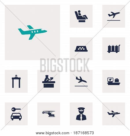 Set Of 12 Airplane Icons Set.Collection Of Letdown, Aircraft, Automobile And Other Elements.