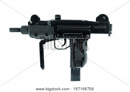 Submachine Gun isolated on white pneumatic weapon.