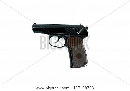 Gun isolated on white background. pneumatic weapon.