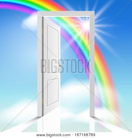 heavenly white doors through which the sun is visible celestial clouds and rainbow