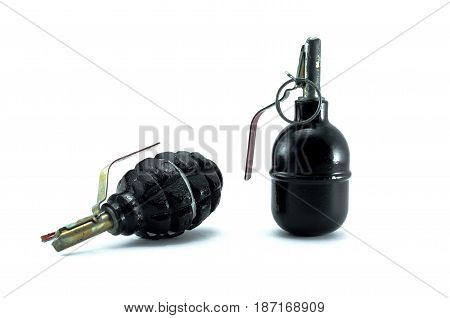 Offensive and defensive hand grenade isolated on white. Training moulage of grenades.
