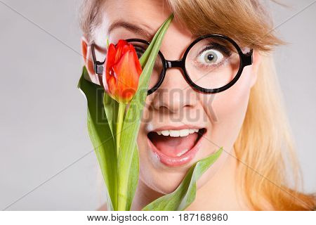 Cheerful Girl With Flower.