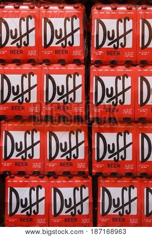 ROME, ITALY. OCTOBER 19, 2008: Red wall of packs of beer Duff. A stack of packs of beer stored in a warehouse in a store in Rome, Italy