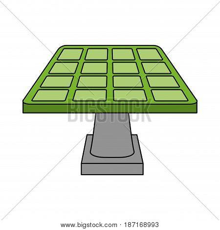 color image cartoon solar energy panel on platform vector illustration