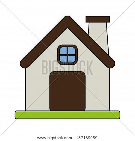 color image cartoon facade comfortable house with chimney vector illustration