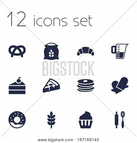 Set Of 12 Bakery Icons Set.Collection Of Crepe, Measurement, Sack And Other Elements.