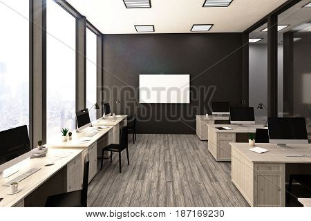 Contemporary stylish coworking office interior with workplaces empty poster on wall and city view. Mock up 3D Rendering