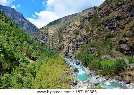 Beautiful Himalayan Scenery. Mountains, Forest And Mountain River In Sagarmatha National Park, Nepal