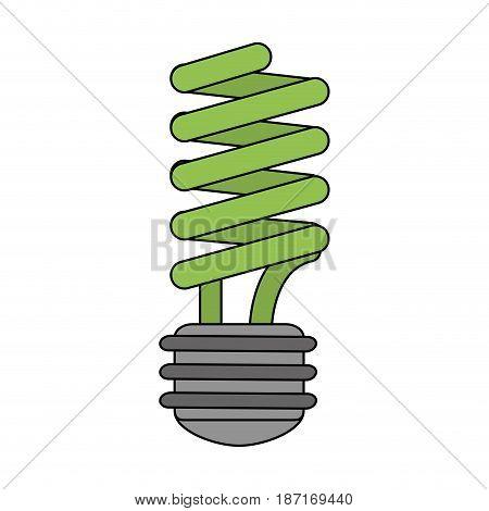 color image cartoon fluorescent light bulb vector illustration