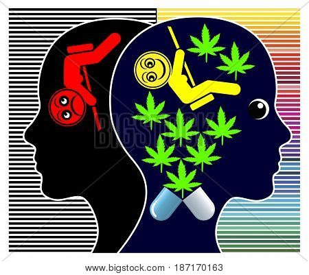 Medical Cannabis for Depressions. Women getting treatment for psychological disorder with marijuana