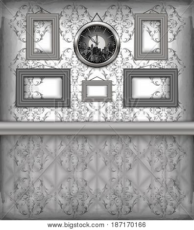 Illustration of clock and frames hanging on the wall with floral background