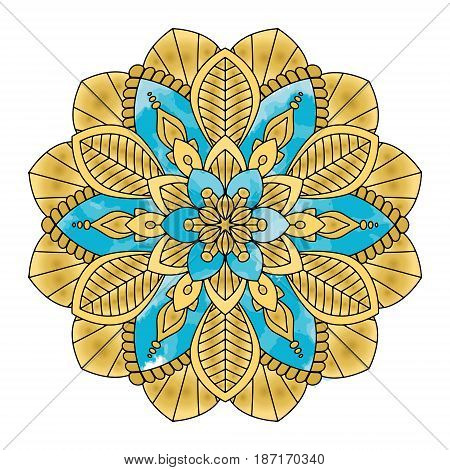 Golden mandala vector illustration. Floral ornament, oriental pattern, vintage decorative element. Islam, Arabic, Indian, moroccan, turkish ottoman motifs.