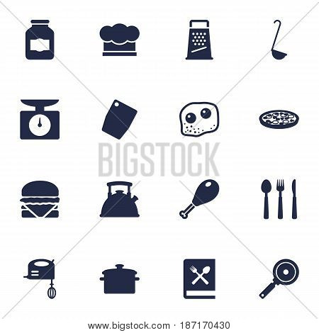 Set Of 16 Kitchen Icons Set.Collection Of Teapot, Non-Stick, Poultry Foot And Other Elements.