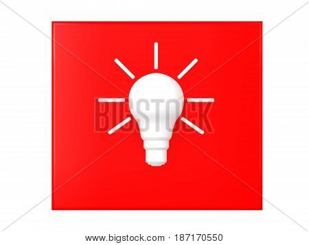 3D illustration of a white idea light bulb over a red background. Image symbolizing creativity and imagination.