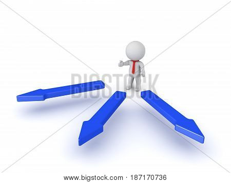 3D illustration of how a manager delegates tasks to a team. Image depicting a leadership position.