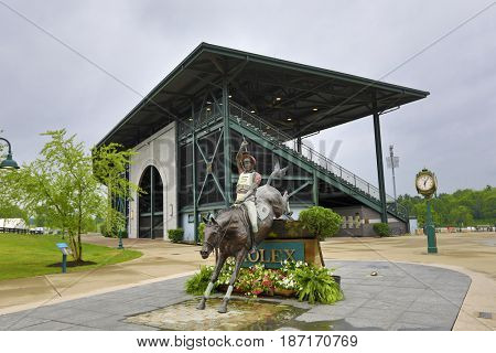 LEXINGTON, KENTUCKY - MAY 12, 2017:  Rolex Stadium in Kentucky Horse Park is home to the Show Jumping Hall of Fame and is one of the top attractions in Kentucky.