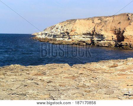 Rocky coastline of Black Sea at daylight