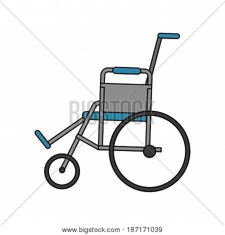 color image cartoon wheel chair medical vector illustration
