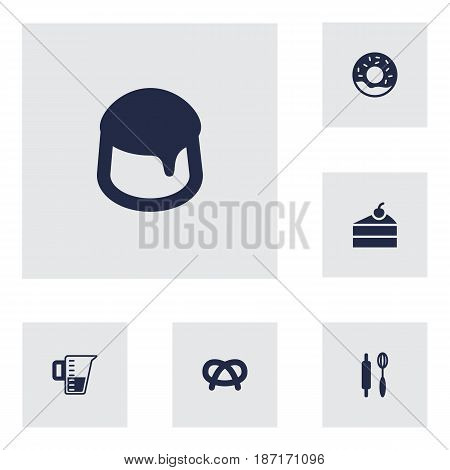 Set Of 6 Bakery Icons Set.Collection Of Measurement, Sweetmeat, Custard And Other Elements.