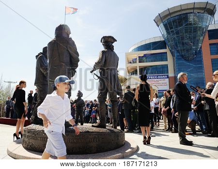 Orel Russia - April 29 2017: Russian traveler festival. First Russian monument to travelers from behind horizontal