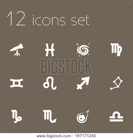 Set Of 12 Astrology Icons Set.Collection Of Goat, Horoscope, Zodiac Sign And Other Elements.