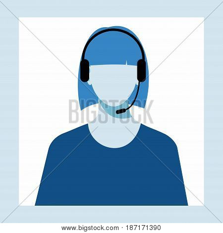 icon of a  woman with a headset from the Technical Support. women avatar for call center.