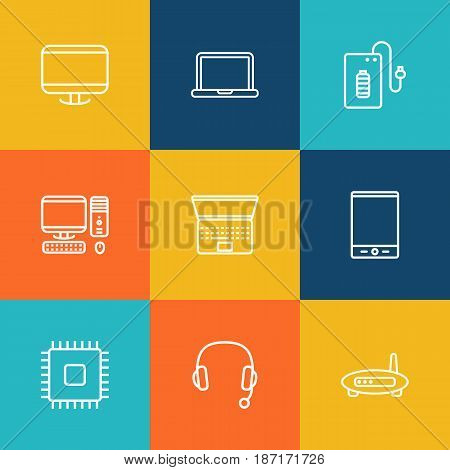 Set Of 9 Laptop Outline Icons Set.Collection Of Powerbank, Modem, PC And Other Elements.