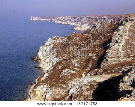 Black sea coast located on Tarkhankut Crimea