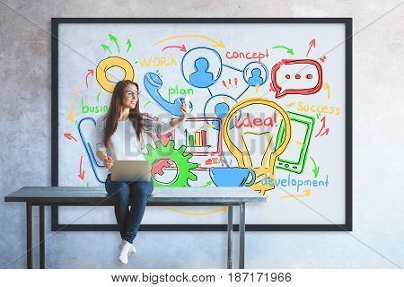 Womanwith laptop sitting on table and taking selfie with smartphone. Frame with business sketch in the background. Technology concept