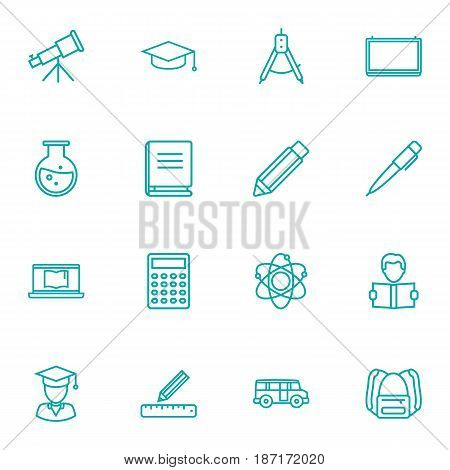 Set Of 16 Studies Outline Icons Set.Collection Of Ruler, Backpack, Compass And Other Elements.