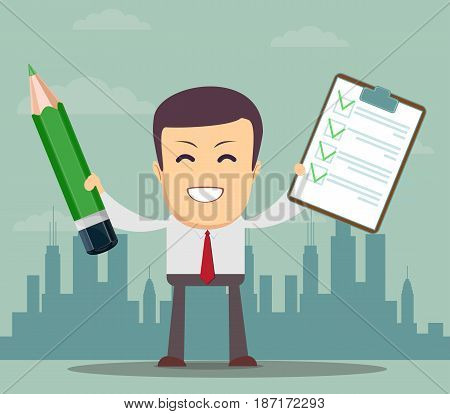 Man, businessman or manager holding a pencil and list of tasks. or questionnaire. Stock vector illustration for poster, greeting card, website, ad, business presentation, advertisement design.