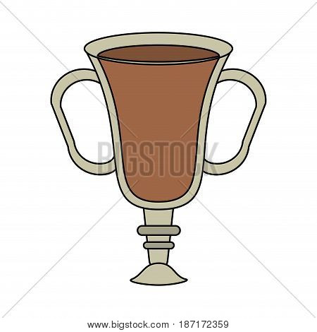 color image cartoon transparent glass cup of coffee with double handles vector illustration