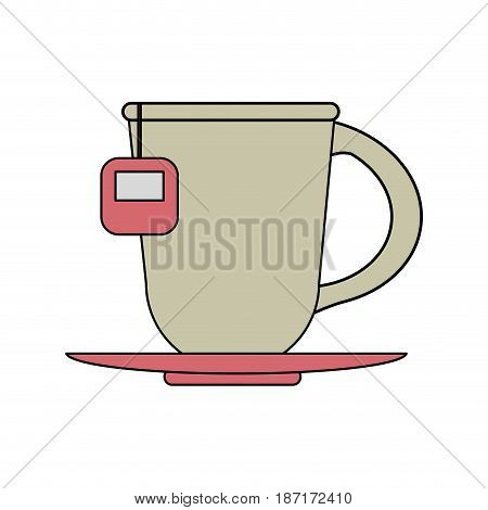 color image cartoon porcelain cup of tea with steam on dish crockery vector illustration