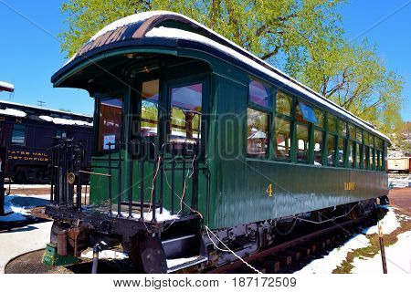 May 3, 2017 in Golden, CO:  Vintage railroad passenger car from the 1800s at the Colorado Railroad Museum where people can tour vintage passenger cars and locomotives taken in Golden, CO