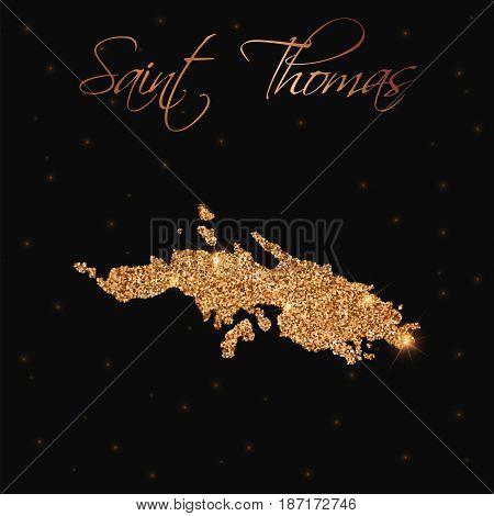 Saint Thomas Map Filled With Golden Glitter. Luxurious Design Element, Vector Illustration.