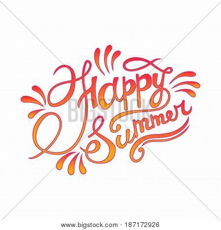 Happy summer hand lettering (vector illustration )