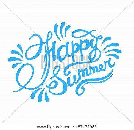 Happy summer hand lettering - (vector illustration)