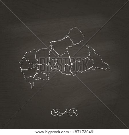 Car Region Map: Hand Drawn With White Chalk On School Blackboard Texture. Detailed Map Of Car Region
