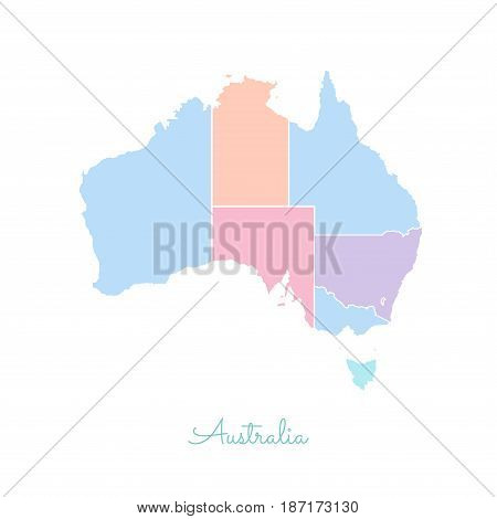 Australia Region Map: Colorful With White Outline. Detailed Map Of Australia Regions. Vector Illustr