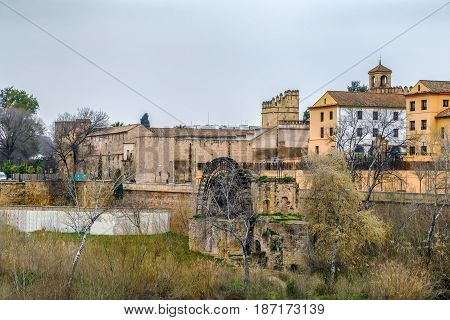 View of Albolafia Mill and Alcazar of Cordoba from Roman Bridge Cordoba Spain