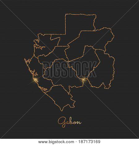 Gabon Region Map: Golden Glitter Outline With Sparkling Stars On Dark Background. Detailed Map Of Ga