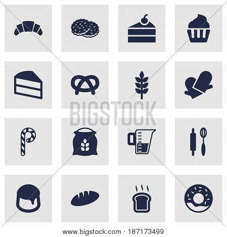 Set Of 16 Oven Icons Set.Collection Of Shortcake, Pastry, Dessert And Other Elements.