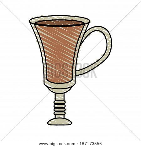 color crayon stripe cartoon transparent glass cup of coffee with handle vector illustration