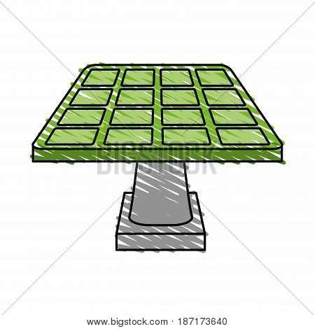 color crayon stripe cartoon solar energy panel on platform vector illustration
