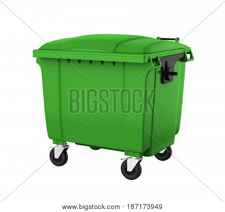 Outdoor Trash Can Bin isolated on white background. 3D render