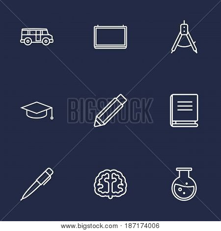 Set Of 9 Science Outline Icons Set.Collection Of Pen, Graduation Cap, Encyclopedia And Other Elements.