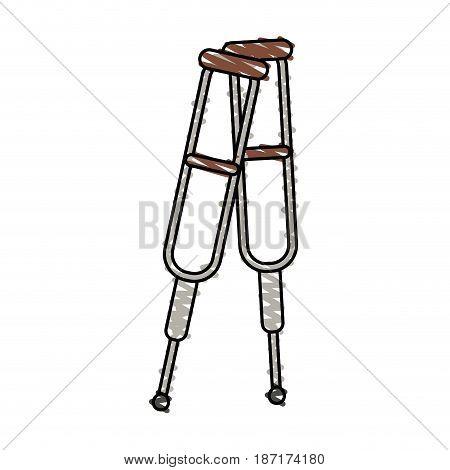 color crayon stripe cartoon pair of medical crutches vector illustration