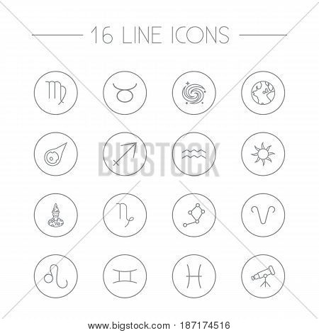 Set Of 16 Horoscope Outline Icons Set.Collection Of Sun, Telescope, Globe And Other Elements.