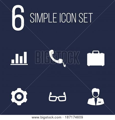 Set Of 6 Employment Icons Set.Collection Of Spectacles, Suitcase, Diagram And Other Elements.