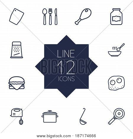 Set Of 12 Culinary Outline Icons Set.Collection Of Omelette, Hamburger, Cutlery And Other Elements.